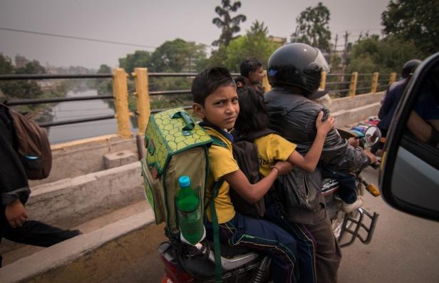 Kid on motorbike